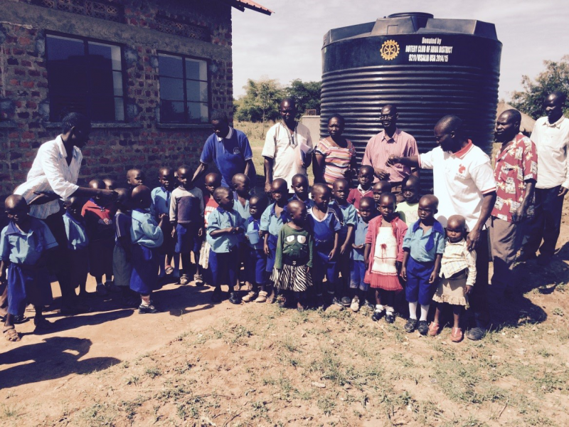 Water storage tanks were installed for these children to have running water